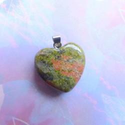 Pendentif Coeur Unakite (Epidote) ~ Force tranquille