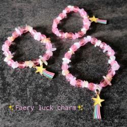 Bracelet Pierre de lune & Quartz rose - Faery Luck charm