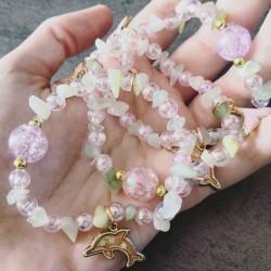 Bracelet de Jade néphrite - Dauphin rose